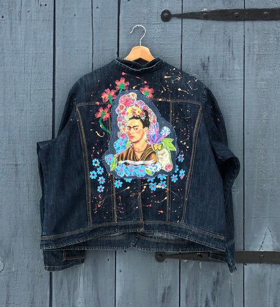 Frida Jacket. One of a Kind. XXL. Painted and Patched. Free Shipping!