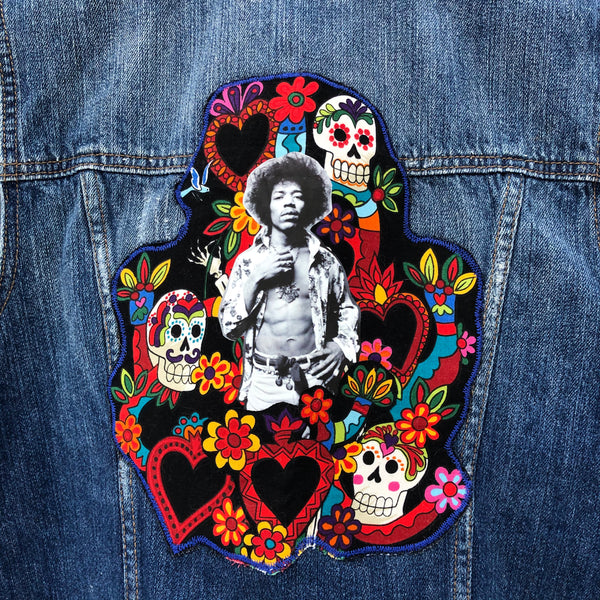 Jimi Hendrix Applique Denim Vest. Size Small. One of a Kind. Free Shipping