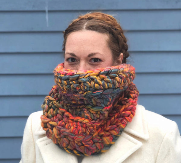 Fluffy Puffy Juicy Fruit Cowl. One of a kind. Ready to Ship