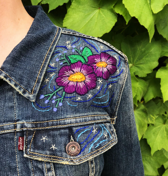 Embroidered Levi's Art Jacket. Cosmic Canopy.