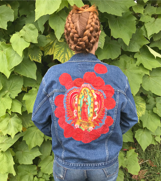 Mother Mary in The Rose Garden. Denim Art Jacket