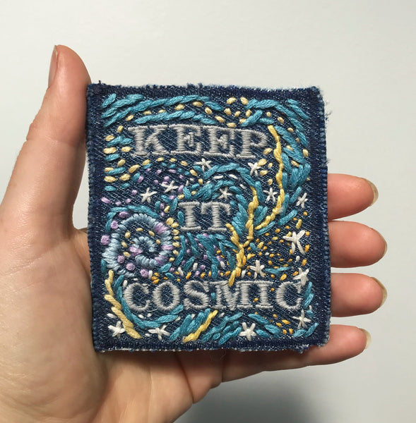 Keep It Cosmic - Starry Night Edition - Hand-Embroidered Denim Patch