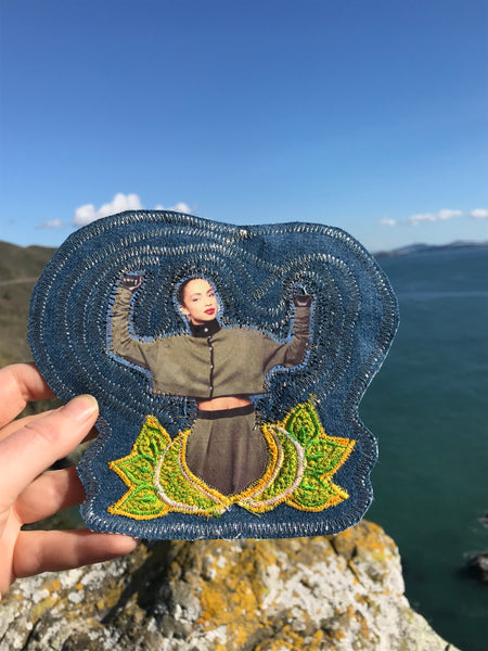 Sade. Handmade Embroidered Denim Patch
