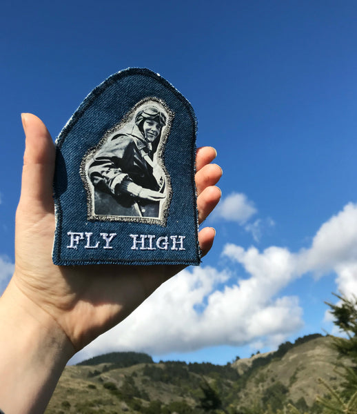 Amelia Earhart. Handmade Embroidered Denim Patch