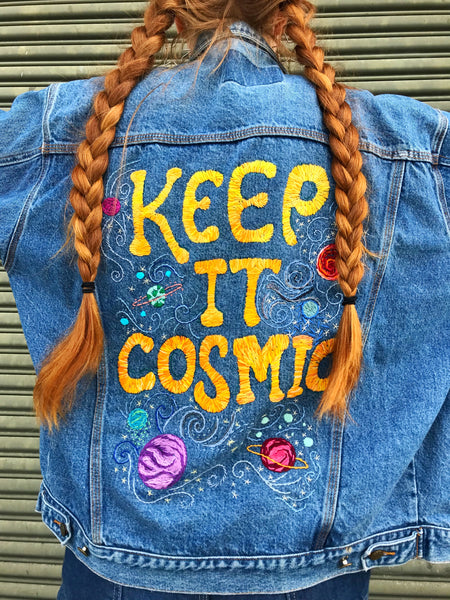 ✨ KEEP IT COSMIC no. 4 Hand-Embroidered Denim Jacket