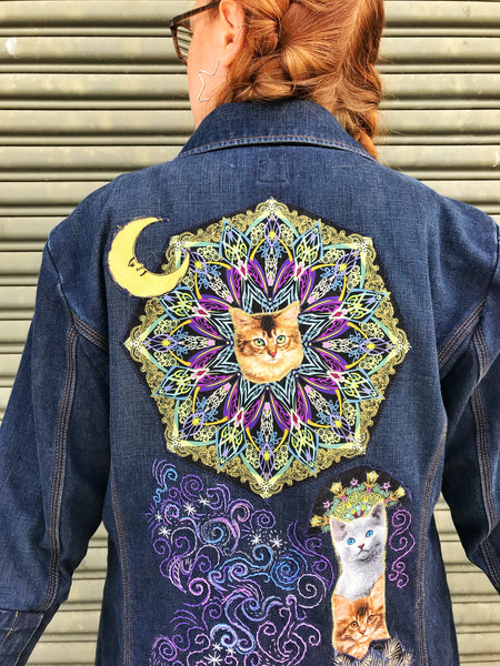 Custom Cosmic Cat Storybook Denim Coat. Made to Order