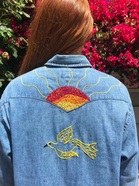 Sunrise Flight Hand Embroidered Vintage Denim Shirt