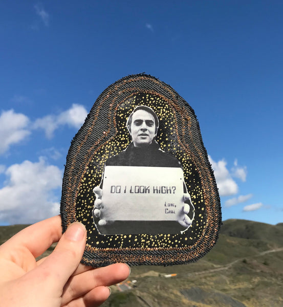 Carl Sagan. Handmade Embroidered Denim Patch