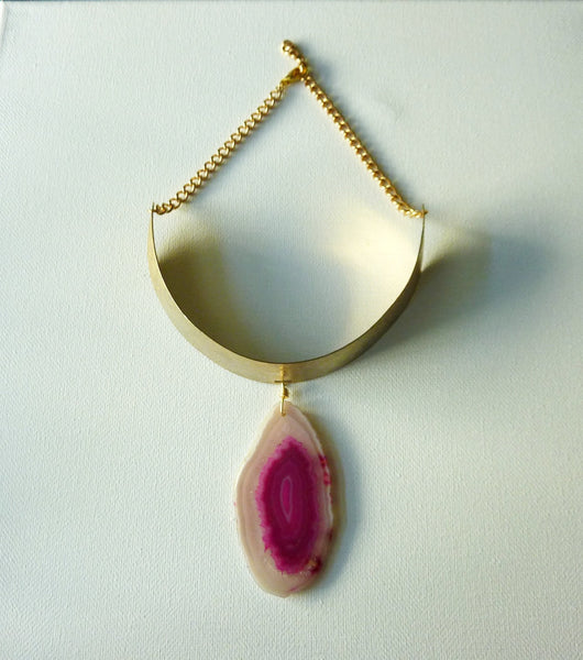 Agate and Vintage Brass Choker
