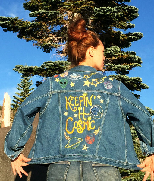 Keepin' It Cosmic Hand-Embroidered Denim Jacket