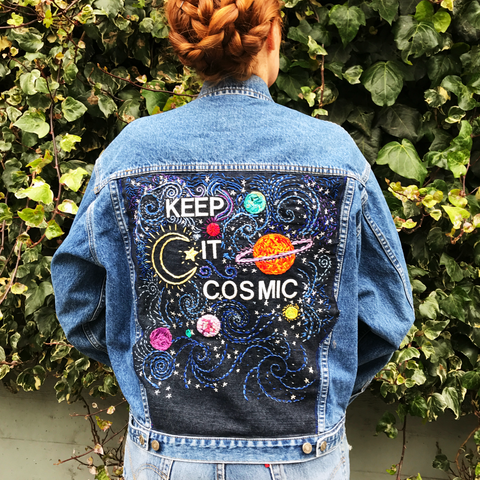 KEEP IT COSMIC Hand-Embroidered Denim Jacket