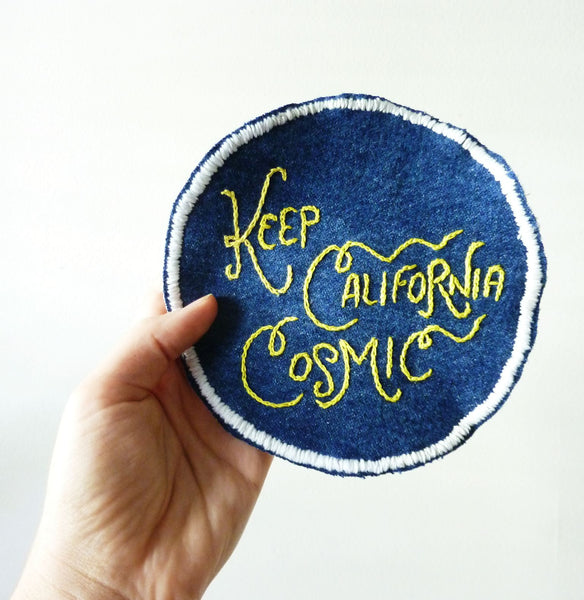 Keep California Cosmic Embroidered Patch on Vintage Denim