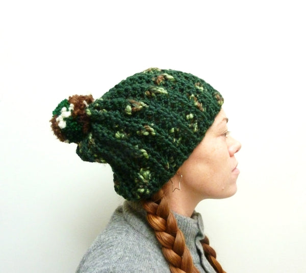 Dark Green Pom-Pom Hat