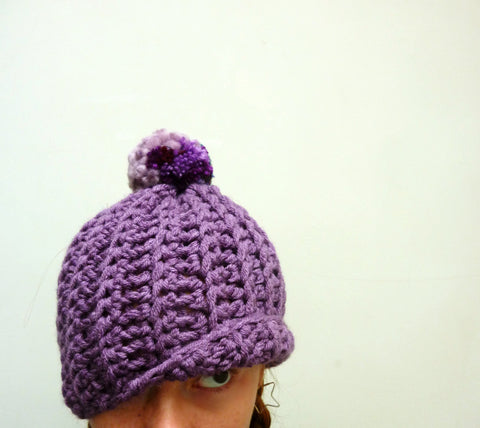 Chunky Purple Pom-Pom Hat