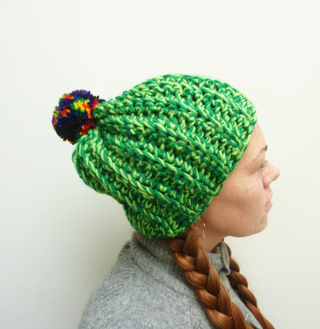 Green Rainbow Pom-Pom Hat