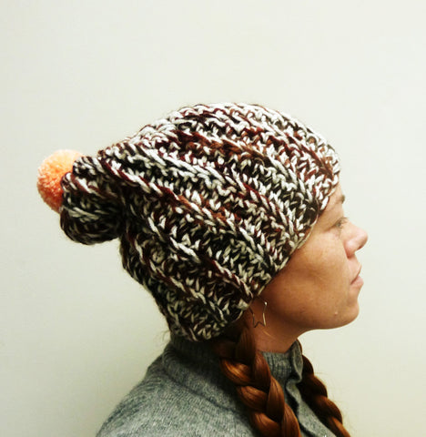 Poppin' Brown Pom-Pom Hat