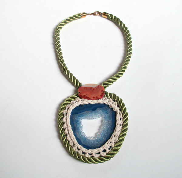 Rope & Crystal Statement Necklace. Blue Agate Stone. Geode Jewelry.