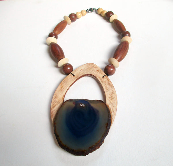 Bavarian Angel. Geode Crystal & Wood Statement Necklace