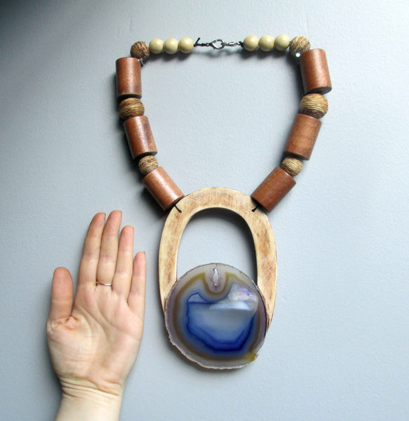 Over The Horizon. Geode Crystal & Wood Statement Necklace
