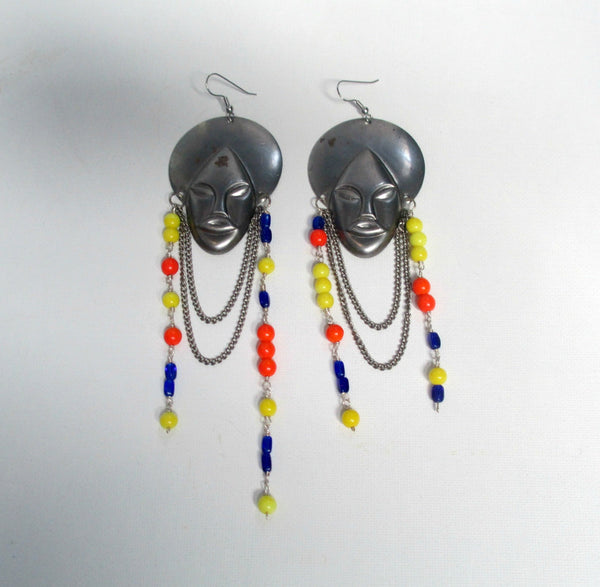 African Mask Statement Earrings