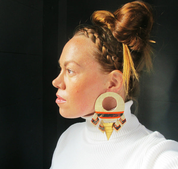 Giant Woven Statement Earrings. Orange and Brass.
