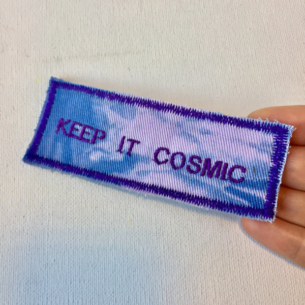Keep it cosmic! Handmade Embroidered Canvas Patch.