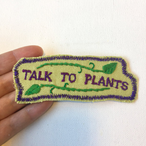 Talk 2 Plants. Handmade Embroidered Canvas Patch.