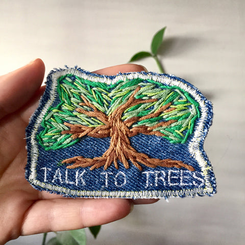 Tree Talkin'. Embroidered Patch on Denim
