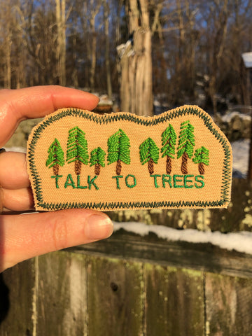 Talk to Trees - Handmade Embroidered Canvas Patch
