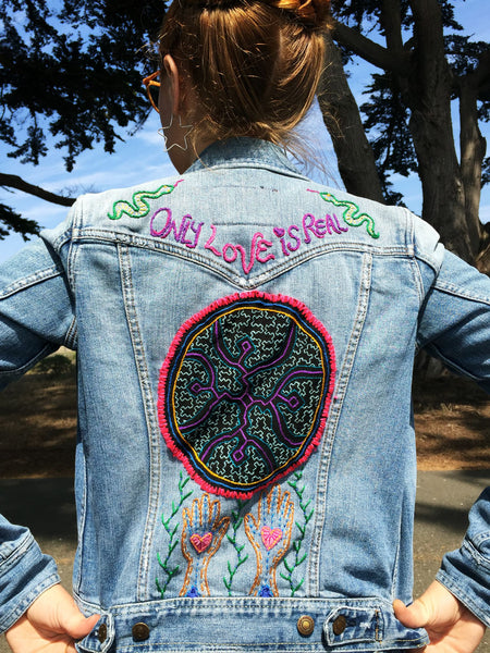 Only Love Is Real  Embroidered Denim Jacket