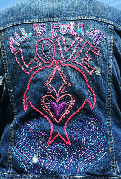 All Is Full Of Love Hand-Embroidered Vintage Denim Jacket