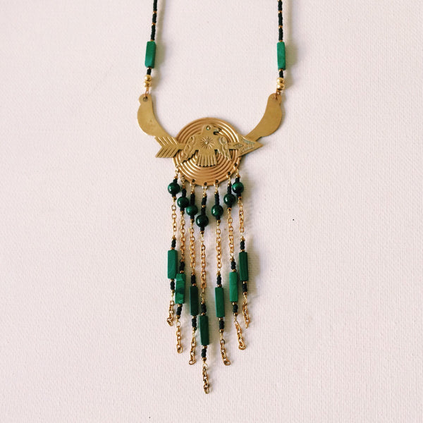 Thunderbird & Malachite Stone Statement Necklace