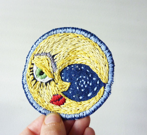 La Luna Embroidered Patch on Vintage Denim