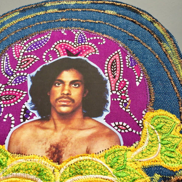 Prince. Handmade Jean Jacket Patch. Vintage Denim and Embroidery