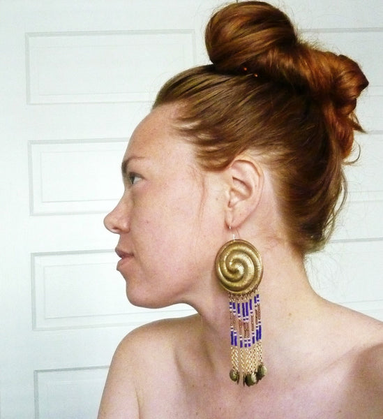 Spiral Dance Beaded Brass Earrings