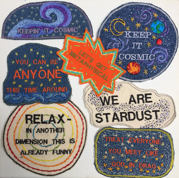 We Are Stardust. Handmade Embroidered Canvas Patch.