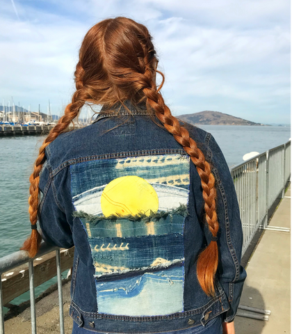 Sea∙Sun☀︎Sky Textile Collage Jacket