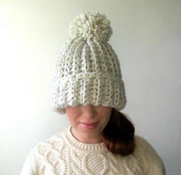 Winter White Vanilla Bean Super Chunky Pom Pom Hat