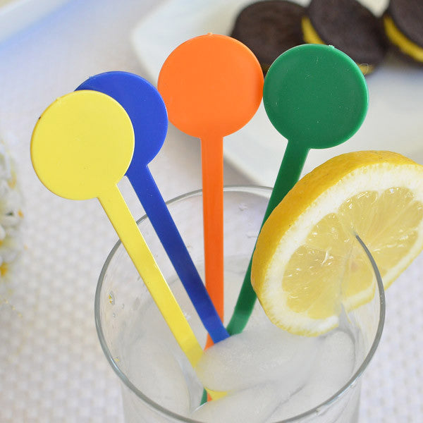 "6"" Plastic flat round stirrers (8 Count) - Assorted Colors"