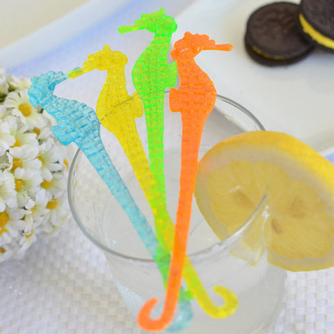 "6"" Plastic Seahorse Cocktail Party Drink Stirrers (8 Count) - Assorted Neon"