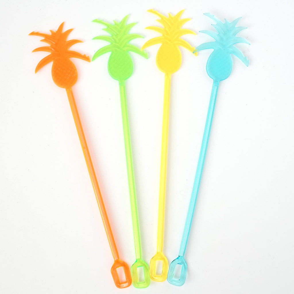 "9"" Plastic Pineapple Cocktail Party Drink Stirrers (8 Count) - Assorted Neon"