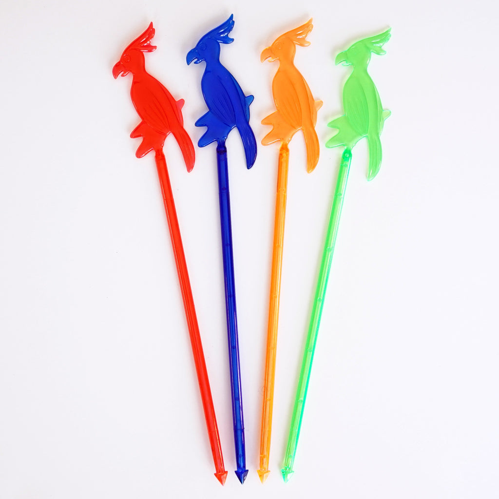"6"" Plastic Parrot Cocktail Party Drink Stirrers - Luau Party (8 Count) - Assorted Neon"