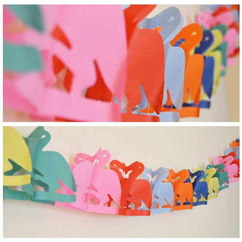 Flamingo Shaped Paper Garland - 13 Feet Long