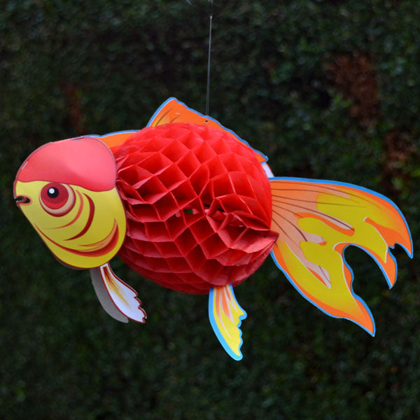 "Tropical Fish 15"" Hanging Honeycomb Red"