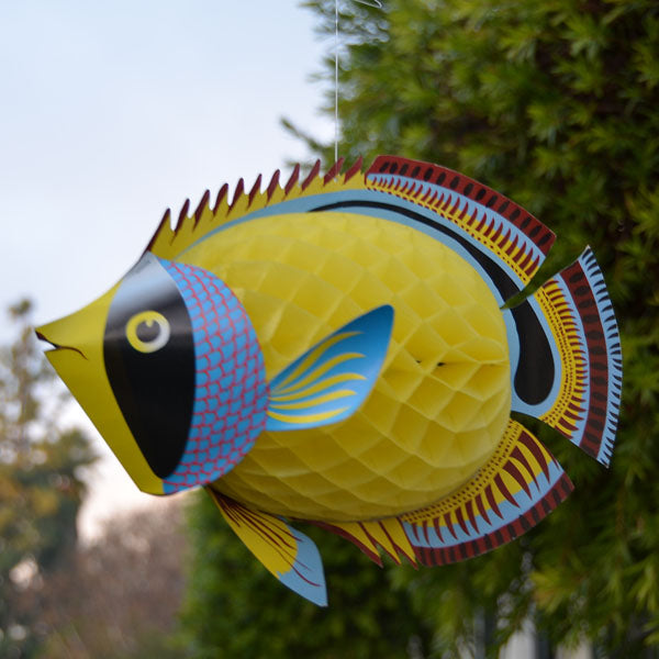 "Tropical Fish Hanging Honeycomb 14"" Yellow"