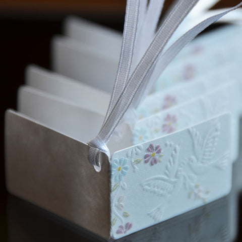 .Doves & Flowers Embossed Favor Tags