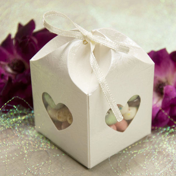 Favor Box Rose Embossed w/Heart Shaped Window