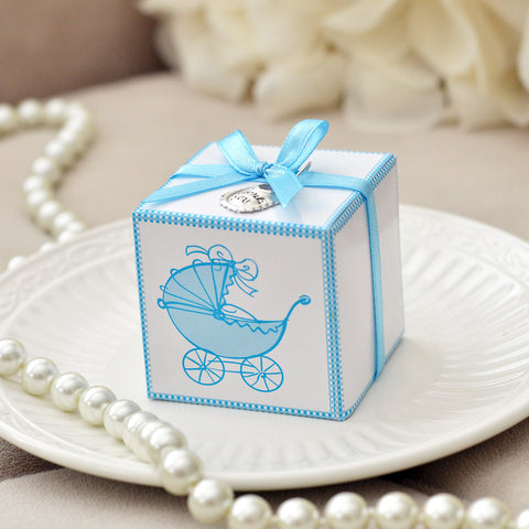 Favor Box Vintage Baby Carriage Print 10ct