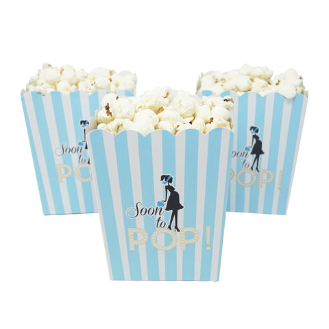 """Soon To Pop"" Popcorn Favor Box for Baby Shower Party, Small Size, 20 Count"