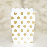Mini Gold Foil Polka Dot Birthday Wedding Bridal Shower Chic Party Popcorn Treat Favor Boxes (10 Count)